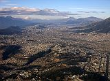 Here is a view of Quito taken from north of the airport looking south. Quito is the capital of Ecuador with a population of about two million people, situated between two mountain ranges at an altitude of 2800m.